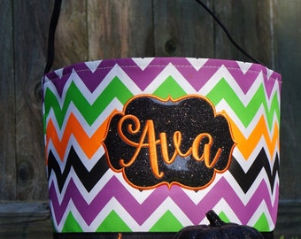 Halloween Trick or Treat Bag, Trick or Treat Bucket, Halloween Bag, Personalized
