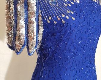 Laurence Kazar - 80s Royal Blue Beaded Dress - Small