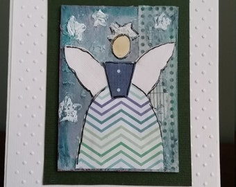 Clearance! Christmas Angel Original Mixed Media Greeting Card, One of a Kind Collage Art, Handmade Card