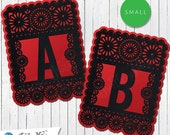 Small Red & Black Papel Picado  :  Printable Banner All Letters 0-9 numbers
