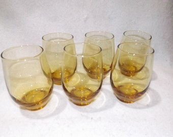 SALE- Set of 6 Amber Roly Poly Glasses- Mad Men Glasses-Alcohol Glasses- Amber Barware  Epsteam Shameless Advertising DJ527
