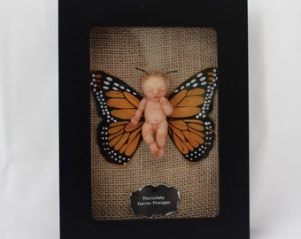 OOAK Miniature Baby: Framed Butterfly Hand-Sculpted Art Doll