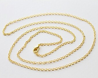 Gold Plated Sterling Silver Chain Necklace, Plain Solid Silver Chain - 18 inch Long