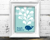 Ahoy It's a Boy or Whale Baby Shower Guest Book Alternative Printable File for Guests to Sign the Water Drops in Aqua Blue and Navy.
