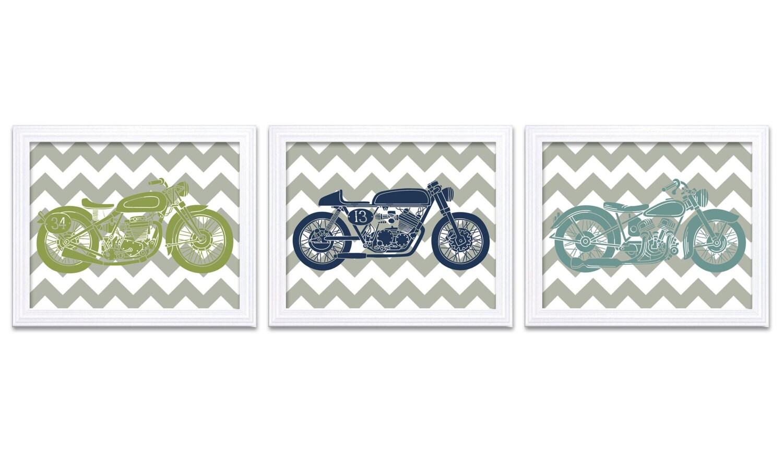 Motorcycle Nursery Art Nursery Prints Transportation Set of 3 Prints Teal Navy Blue Lime Green Grey