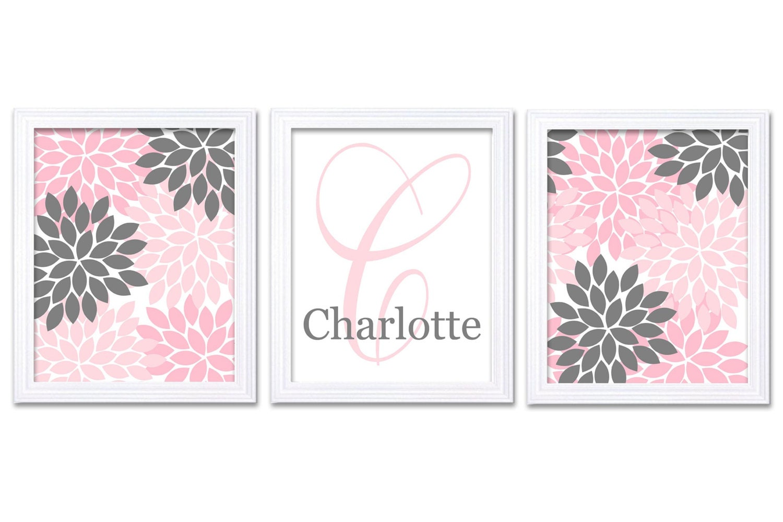 Grey Pink Nursery Art Set of 3 Prints Custom Letter Monogrham Name Chrysanthemum Flowers Baby Girl W