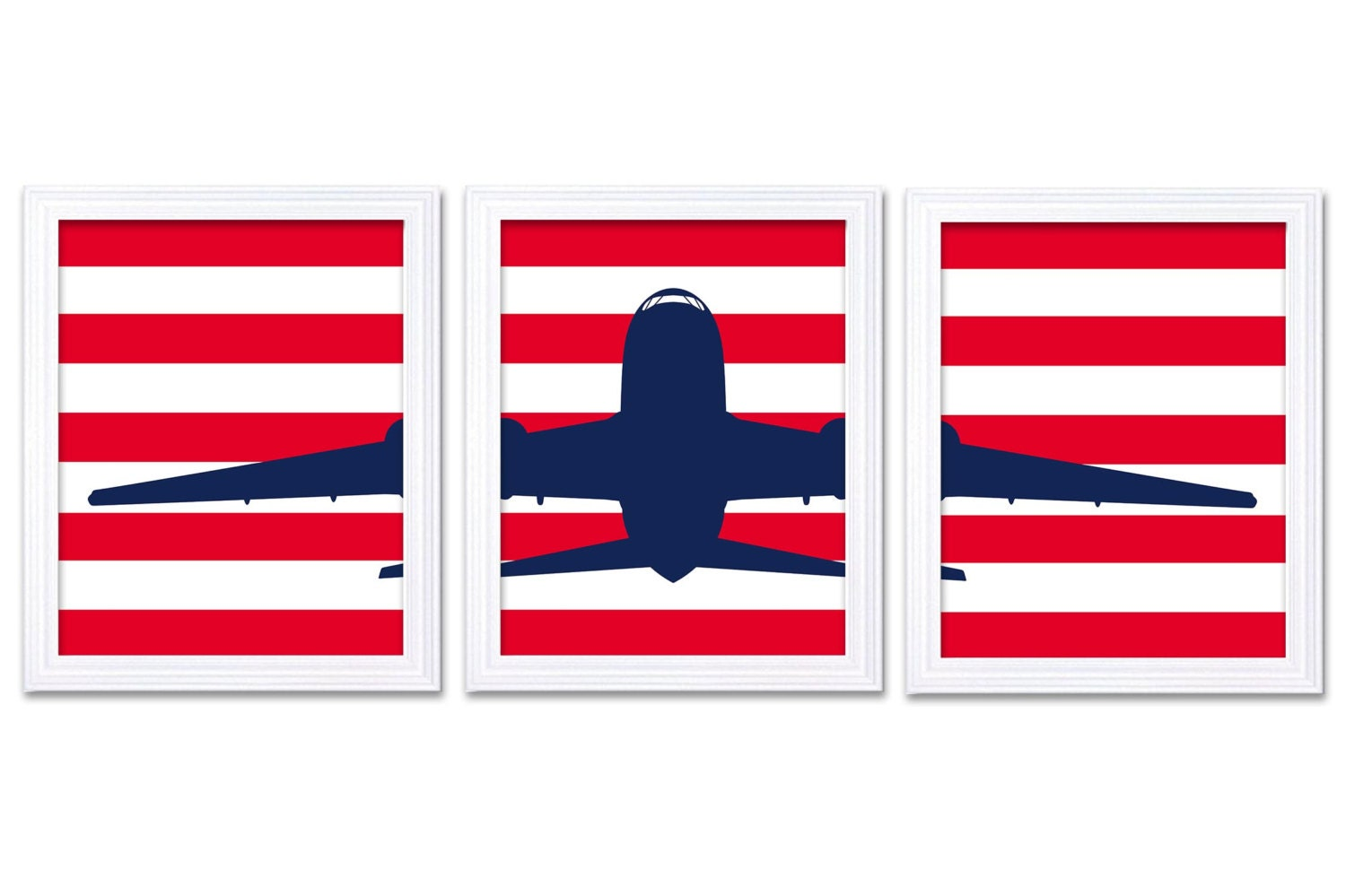Airplane Nursery Art Set of 3 Prints Navy Blue Red Plane Stripes Boys Art Nursery Print Child Kids R