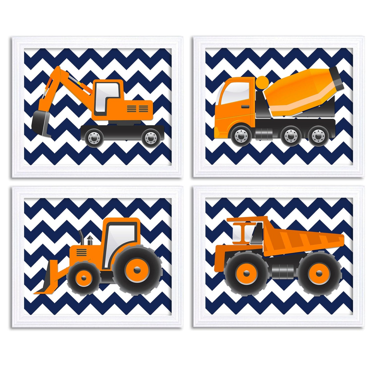 Transportation Construction Vehicles Heavy Machinery Art Set of 4 Print Boy Nursery Wall Decor Navy