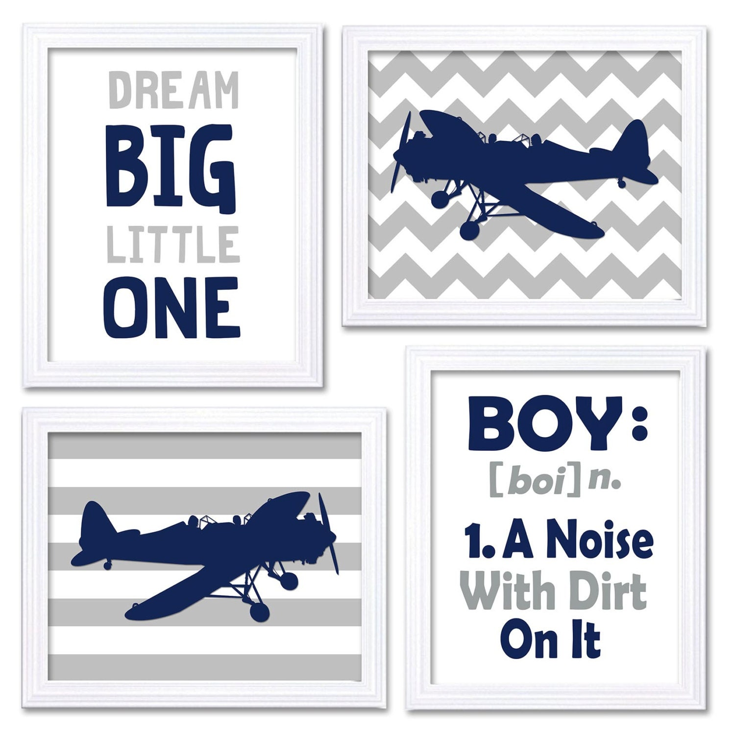 Airplane Nursery Art Navy Grey Nursery Print Set of 4 Transportation Dream Big Little One BOY A Nois