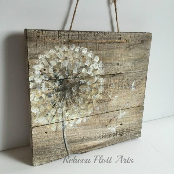 Dandelion on rustic woodreclaimed woodoriginal handmade for Rustic wood crafts ideas