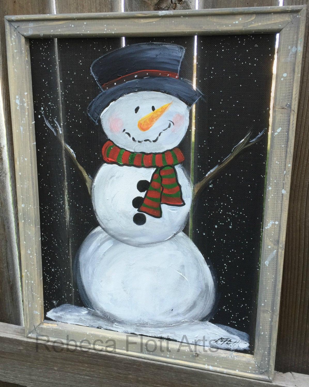 Snowman Hand Painted Window Screen Outdoor Sign Indoor