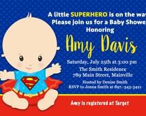 Superman Baby Shower Invitation, Baby Invitation, Superhero, First Birthday, 1st Birthday -  Printable or Printed