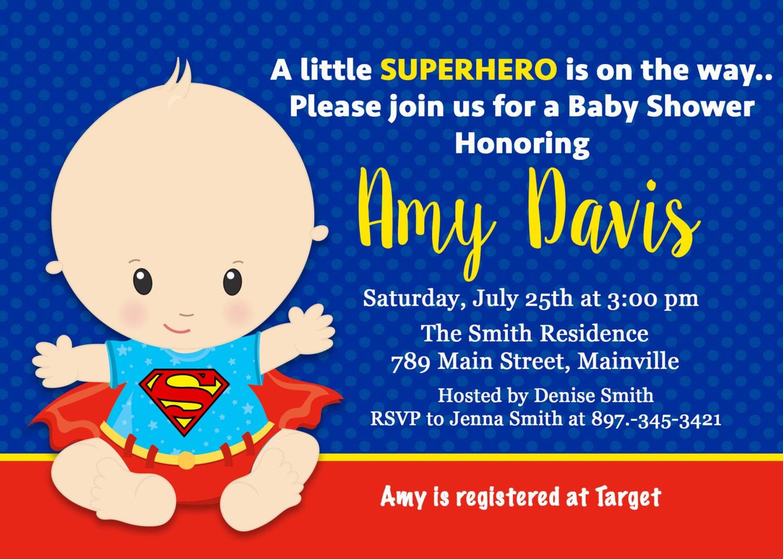 superman baby shower invitation baby invitation superhero