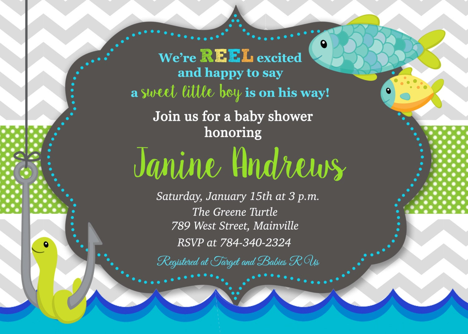Fishing fish baby shower invitation printable digital for Fishing baby shower