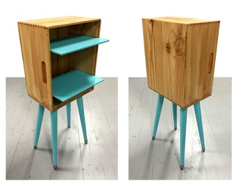 Retrofitted Wine Box Nightstand with painted legs