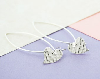 Heart Drop Earrings, Silver Earrings, Dangly Earrings, Hammered Heart, Sterling Silver, Earrings, Heart Drops, Dangle, Silver Drops, Unique