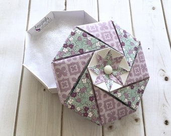 Hand-Folded Origami Purple Turquoise Floral Themed Paper Gift Box