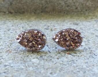 SALE Rose Gold Druzy Tear Drop Rain Drop Earrings Jewelry 10X14MM