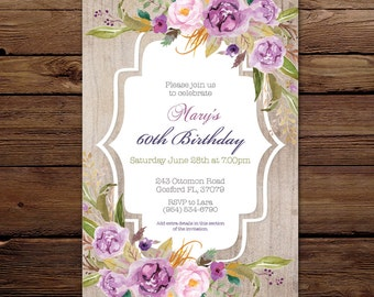 Birthday Invitation - Floral invite - Personalised Invitation - Printable Invitation - Digital - Purple watercolour flowers invitation 60th