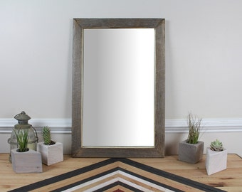Reclaimed Wood Wall Mirror, Weathered Pine