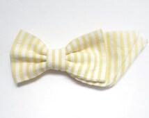 Girls Fabric Bow - Newborn Bow Headband - Toddler Bow Clip - Nylon Headband Bow - Cotton Fabric 'Tiffany' Bow - Yellow Seersucker
