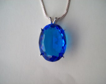 HUGE Electric Blue Pendant in Sterling Silver Setting with Chain - 25x18mm