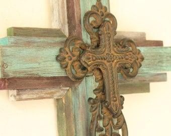 "OKLAHOMA CROSS - Small Wooden Rustic Cross   24"" tall, multi color"