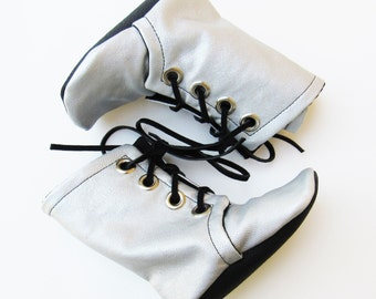 Silver Combat Boots