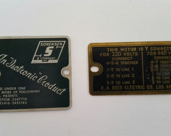 "Two Vintage machinery tags, R.A. Reed Electric Motor, Sorenson & Co An ""Isotronic"" Product"