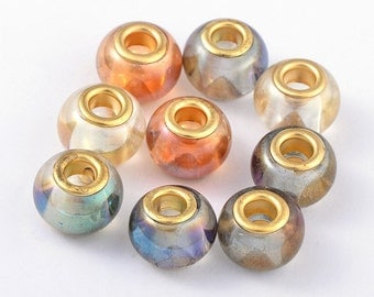 Glass European Beads, with Golden Plated Brass Double Cores, Large Hole Beads, Rondelle, Mixed Color, 15x11mm, Hole: 5mm  096