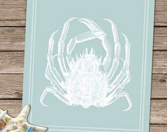 Crab Print - White Crab on Seafoam green - Crab art crab painting crab wall art Seafoam Decor coastal decor beach art Beach House Decor