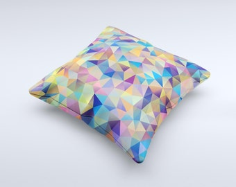 The Colorful Vibrant Triangle Connect Pattern ink-Fuzed Decorative Throw Pillow