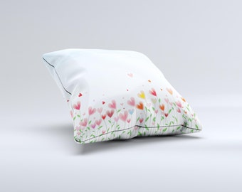 The Field of Blooming Hearts ink-Fuzed Decorative Throw Pillow