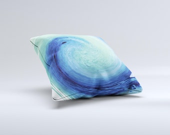 The Blue and Teal Watercolor Swirl ink-Fuzed Decorative Throw Pillow