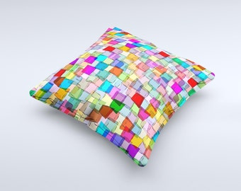 Vibrant Colored Abstract Cubes ink-Fuzed Decorative Throw Pillow