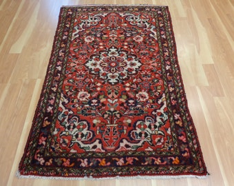 Red Persian Rug Vintage Borchelou Oriental Rug 3' 9 x 5' 6