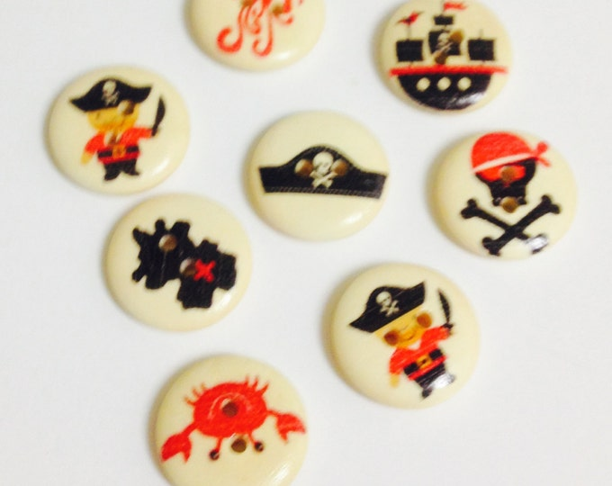 8x 18mm Pirate Themed wooden buttons