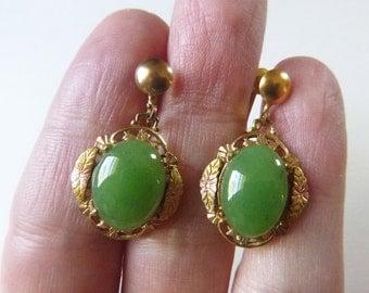 Tri-color gold  filled filigree green agate stone art deco non-pierced screw backs