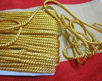 4 mm Metallic Woven Cord / Thick Golden Cord /Rope for Decoration,Crafting,Scrapbooking - 10 yards