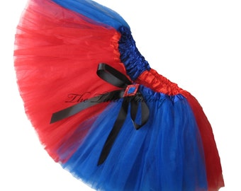 HARLEQUIN Tutu . Little Girls to Adult Plus Size .  3 Layers . Red and Royal Blue Tutu .  Short Length 11