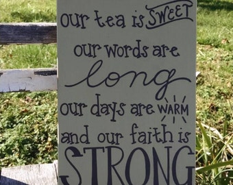 In the South...hand-painted wooden sign