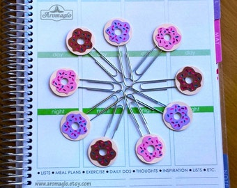 Donut Planner Clip. Choose Chocolate, Strawberry or Bubblegum. Original Hand Drawn Design made from Card Stock. Tn Accessories, BuJo Clips.