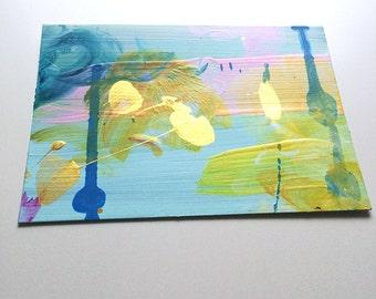 Handpainted postcard (acrylic on paper) 03/16 - original abstract mini painting, wall art, interior design, homedecor, neon
