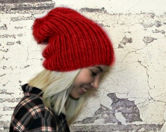 Hand Knitted Beanie Hat - Slouchy Red Hat - Winter Hat - Wool - Hat For Women - Hat For Men