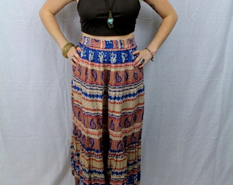 SALE *** Red and Blue Paisley Bohemian Hippie Flowy Goddess Skirt