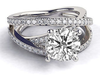 0.3 CT Solitaire Diamond with Accents Engagement Ring Platinum Round F SI1 Model ER-04