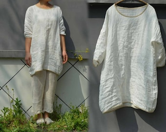 470--Washed Linen Cotton Blend Tunic Top,  Made to Order.