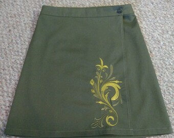 Olive green embroidered wrap skirt