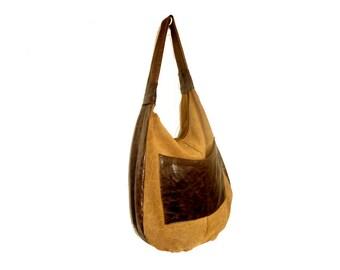 vintage shopper bag / Suede leather tote bag