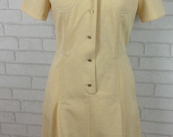 1970's Dobett Cream Courtauld Lirelle Shirt Like Day Dress Size 14